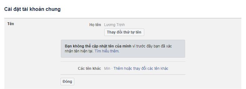 cach doi ten facebook khi da xac nhan ten