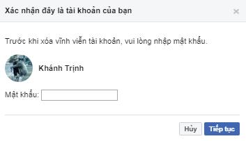xoa tai khoan facebook ngay lap tuc